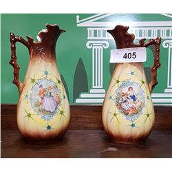 PAIR VICTORIAN PORCELAIN PITCHERS