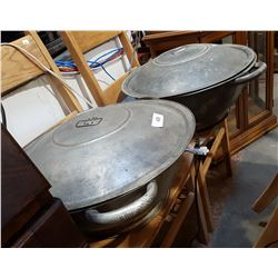 TWO VINTAGE BREAD PANS W/LIDS