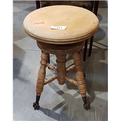 UNFINISHED BALL IN CLAW FOOT PIANO STOOL