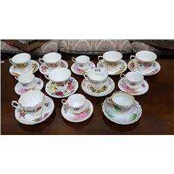 12 ENGLISH BONE CHINA TEACUPS/SAUCERS