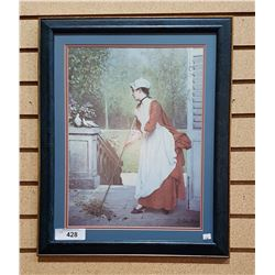FRAMED PRINT LADY SWEEPING
