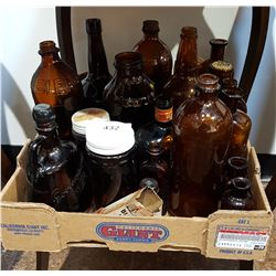 BOX LOT VINTAGE BROWN GLASS BOTTLES
