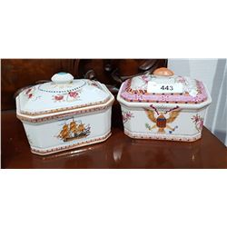 TWO VICTORIAN LIDDED DISHES