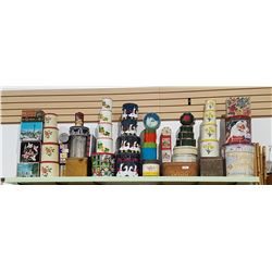 SHELF LOT OF VINTAGE CANNISTER SETS & COLLECTIBLE TINS