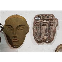 TWO TERRA COTTA WALL MASKS