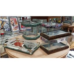 THREE DISPLAY BOXES & ONE MIRRORED TRAY