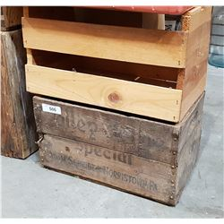 TWO VINTAGE WOODEN CRATES