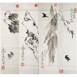 FAN ZENG Chinese b.1938 WC Set of Four Birds