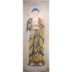 Chinese Watercolor on Paper Scroll Buddha