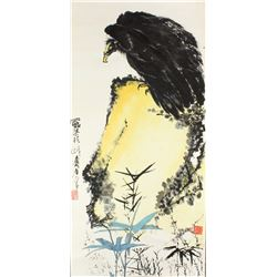 HUANG SHANSHOU Chinese 1855-1919 WC Eagle Scroll