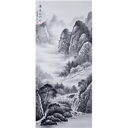 YAN WEN Chinese Modern Watercolor Scroll
