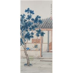 ZHEN MUKANG Chinese 1901-1982 Watercolor Courtyard