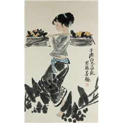 ZHOU SICONG Chinese 1939-1996 Watercolor Scroll