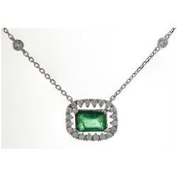 0.87 ctw Emerald and Diamond Necklace - 18KT White Gold