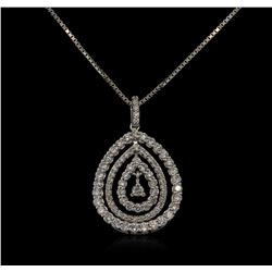1.07 ctw Diamond Pendant With Chain - 18KT White Gold