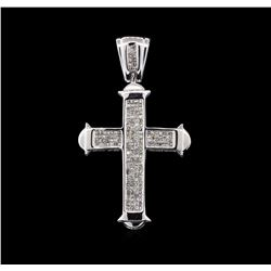 3.00 ctw Diamond Cross Pendant - 14KT White Gold