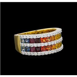2.67 ctw Multi Color Sapphire and Diamond Ring - 14KT Yellow Gold
