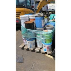 Contents of Pallet - Buckets of Sealant Etc