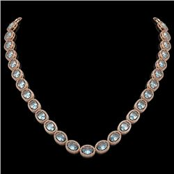 41.88 CTW Aquamarine & Diamond Halo Necklace 10K Rose Gold - REF-722W4F - 40578