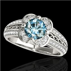 2.05 CTW Si Certified Fancy Blue Diamond Solitaire Halo Ring 10K White Gold - REF-272X8T - 34270
