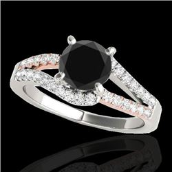 1.65 CTW Certified VS Black Diamond Solitaire Ring 10K White & Rose Gold - REF-74T8M - 35302