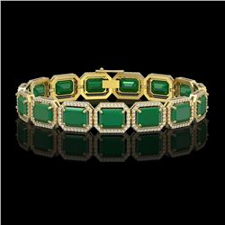 38.61 CTW Emerald & Diamond Halo Bracelet 10K Yellow Gold - REF-456A5X - 41524