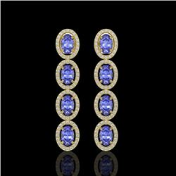6.09 CTW Tanzanite & Diamond Halo Earrings 10K Yellow Gold - REF-122A2X - 40513
