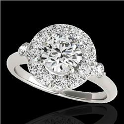 1.5 CTW H-SI/I Certified Diamond Solitaire Halo Ring 10K White Gold - REF-180K2W - 33454