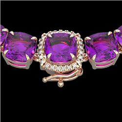 116 CTW Amethyst & VS/SI Diamond Halo Micro Pave Necklace 14K Rose Gold - REF-350X2T - 23334