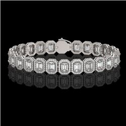 17.28 CTW Emerald Cut Diamond Designer Bracelet 18K White Gold - REF-3582M4H - 42788
