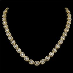 28.74 CTW Pear Diamond Designer Necklace 18K Yellow Gold - REF-5269Y3K - 42643