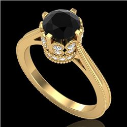 1.5 CTW Fancy Black Diamond Solitaire Engagement Art Deco Ring 18K Yellow Gold - REF-109H3A - 37347