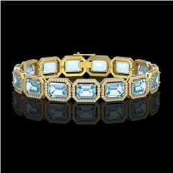36.81 CTW Aquamarine & Diamond Halo Bracelet 10K Yellow Gold - REF-600K4W - 41548