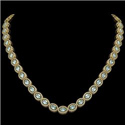 24.65 CTW Aquamarine & Diamond Halo Necklace 10K Yellow Gold - REF-572K8W - 40426