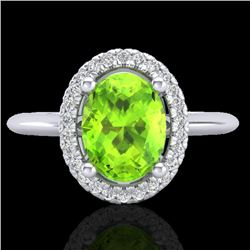 1.75 CTW Peridot & Micro VS/SI Diamond Ring Solitaire Halo 18K White Gold - REF-51K3W - 21016