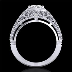 1.07 CTW VS/SI Diamond Art Deco Ring 18K White Gold - REF-322K5W - 36917