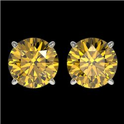 3 CTW Certified Intense Yellow SI Diamond Solitaire Stud Earrings 10K White Gold - REF-555N2Y - 3312