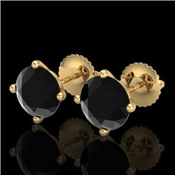 3.01 CTW Fancy Black Diamond Solitaire Art Deco Stud Earrings 18K Yellow Gold - REF-120H2A - 38257
