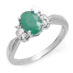 1.0 CTW Emerald & Diamond Ring 14K White Gold - REF-32Y2K - 13877