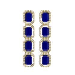 12.33 CTW Sapphire & Diamond Halo Earrings 10K Yellow Gold - REF-158K4W - 41434