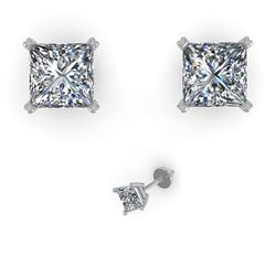 1.00 CTW Princess Cut VS/SI Diamond Stud Designer Earrings 18K Rose Gold - REF-180F2N - 32276