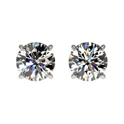 1 CTW Certified H-SI/I Quality Diamond Solitaire Stud Earrings 10K White Gold - REF-94F5N - 33049