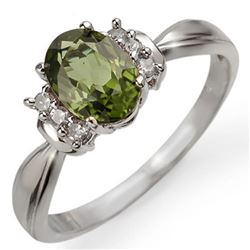 1.06 CTW Green Tourmaline & Diamond Ring 18K White Gold - REF-38H4A - 13546