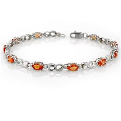 3.51 CTW Orange Sapphire & Diamond Bracelet 10K White Gold - REF-32Y9K - 11643
