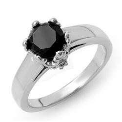 1.53 CTW VS Certified Black & White Diamond Solitaire Ring 14K White Gold - REF-59T8M - 11816