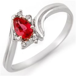 0.35 CTW Red Sapphire & Diamond Ring 14K White Gold - REF-19N6Y - 11449