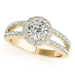 1.25 CTW Certified VS/SI Diamond Solitaire Halo Ring 18K Yellow Gold - REF-190H2A - 26430
