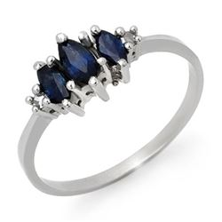 0.66 CTW Blue Sapphire & Diamond Ring 14K White Gold - REF-19W6F - 12925