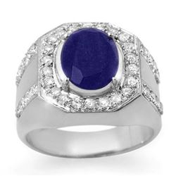 5.75 CTW Sapphire & Diamond Men's Ring 10K White Gold - REF-118M2H - 14496