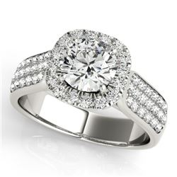 1.8 CTW Certified VS/SI Diamond Solitaire Halo Ring 18K White Gold - REF-435T5M - 26790